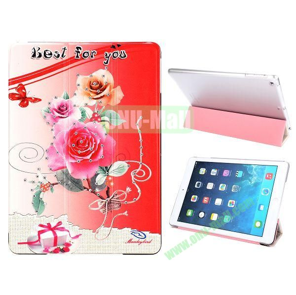 Crystal Diamond 3-folding Design Flip Stand PC+ Leather Case for iPad Air