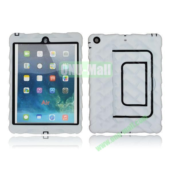 Tire Texture Pattern 3 in 1 Full View Touch Screen Detachable Silicone +PC Hybrid Case for iPad Air with Kickstand (White)