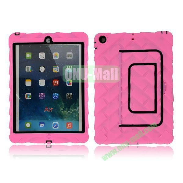 Tire Texture Pattern 3 in 1 Full View Touch Screen Detachable Silicone +PC Hybrid Case for iPad Air with Kickstand (Pink)