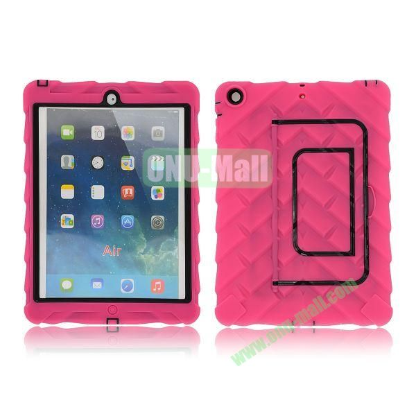 Tire Texture Pattern 3 in 1 Full View Touch Screen Detachable Silicone +PC Hybrid Case for iPad Air with Kickstand (Rose)