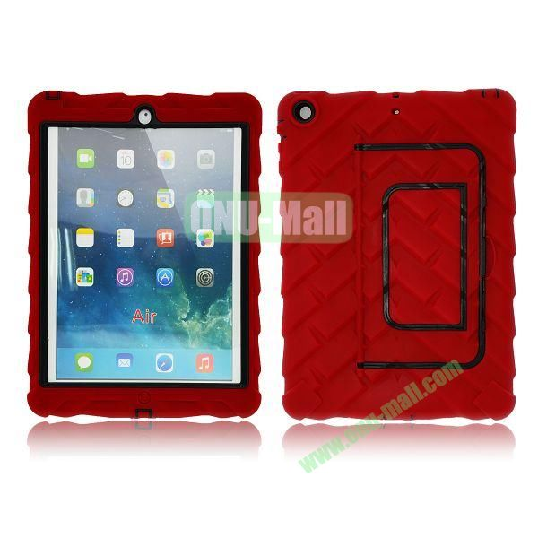 Tire Texture Pattern 3 in 1 Full View Touch Screen Detachable Silicone +PC Hybrid Case for iPad Air with Kickstand (Red)