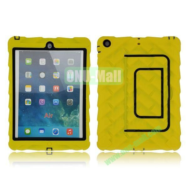 Tire Texture Pattern 3 in 1 Full View Touch Screen Detachable Silicone +PC Hybrid Case for iPad Air with Kickstand (Yellow)