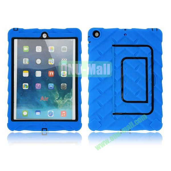 Tire Texture Pattern 3 in 1 Full View Touch Screen Detachable Silicone +PC Hybrid Case for iPad Air with Kickstand (Blue)