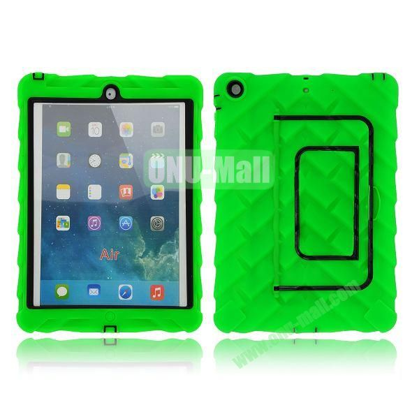 Tire Texture Pattern 3 in 1 Full View Touch Screen Detachable Silicone +PC Hybrid Case for iPad Air with Kickstand (Green)