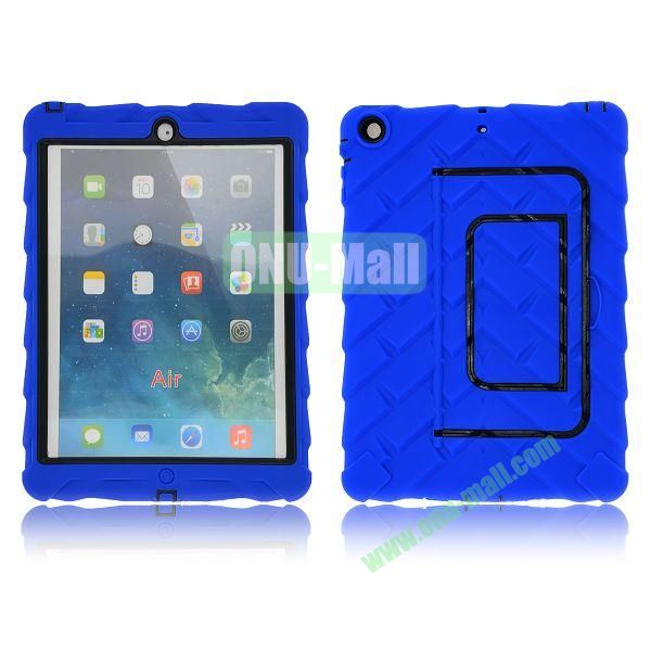 Tire Texture Pattern 3 in 1 Full View Touch Screen Detachable Silicone +PC Hybrid Case for iPad Air with Kickstand (Dark Blue)