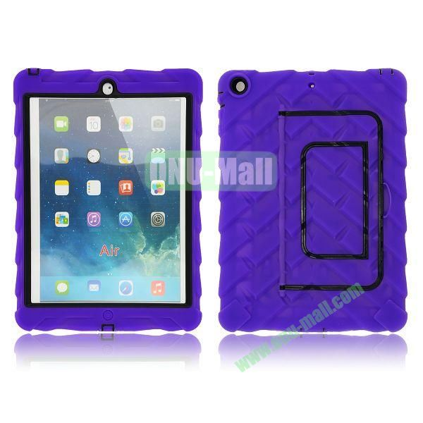 Tire Texture Pattern 3 in 1 Full View Touch Screen Detachable Silicone +PC Hybrid Case for iPad Air with Kickstand (Purple)