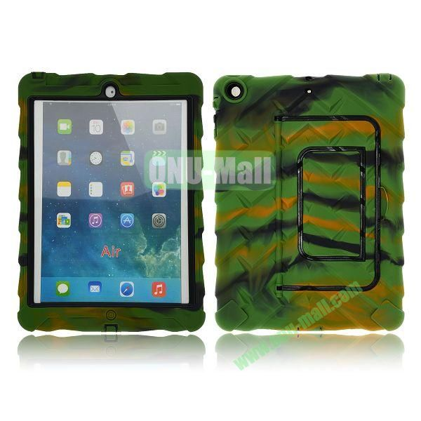 Tire Texture Pattern 3 in 1 Full View Touch Screen Detachable Silicone +PC Hybrid Case for iPad Air with Kickstand (Camouflage)