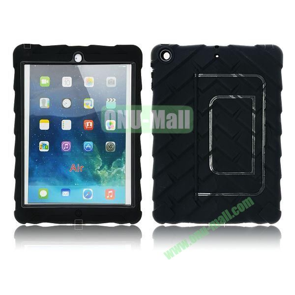 Tire Texture Pattern 3 in 1 Full View Touch Screen Detachable Silicone +PC Hybrid Case for iPad Air with Kickstand (Black)