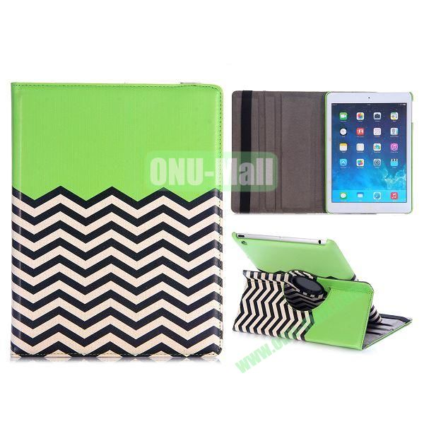 360 Rotating Wave Line Pattern Flip Stand PC+PU Leather Case for iPad Air with Elastic Belt (Green)