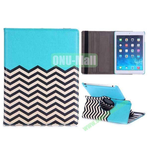 360 Rotating Wave Line Pattern Flip Stand PC+PU Leather Case for iPad Air with Elastic Belt (Blue)