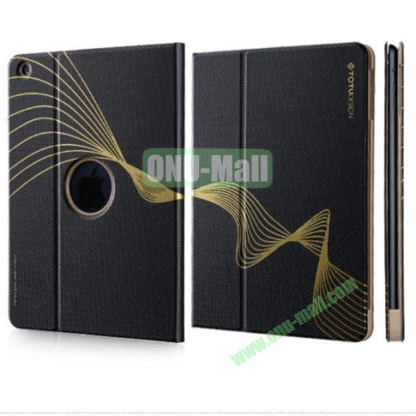 TOTU Design Golden Series Smart Wake Sleep Function Flip Stand PC+PU Leather Case for iPad Mini  iPad Mini Retina (Black)