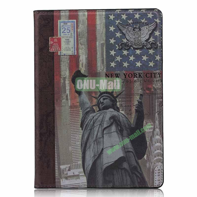 Retro Style Flip Stand Leather Case For iPad Air (Statue Of Liberty)