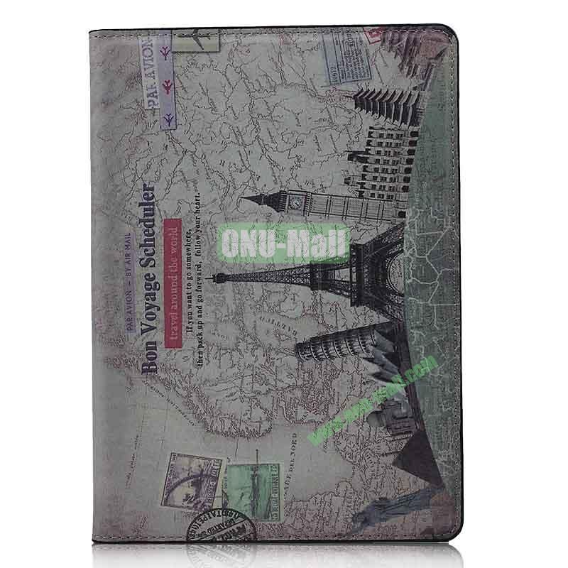 Retro Style Flip Stand Leather Case For iPad Air (Travel Around The World Pattern)