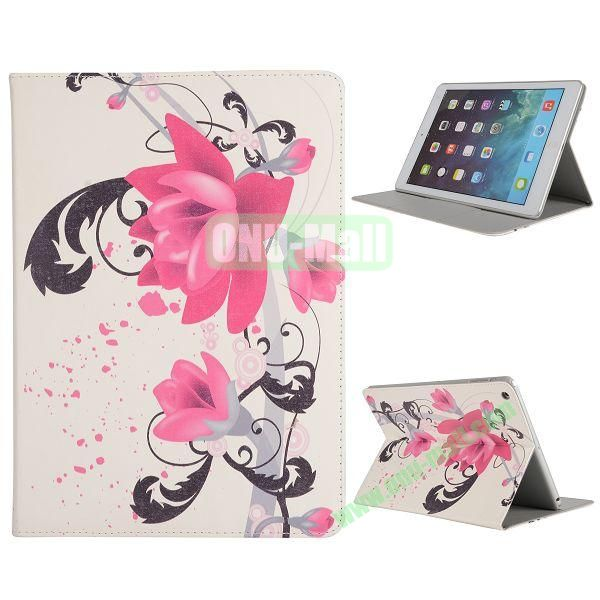 Pretty Pattern Flip Stand Leather Case for iPad Air (Lily)