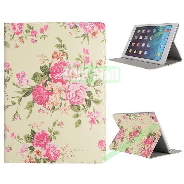 Pretty Pattern Flip Stand Leather Case for iPad Air (Pink Flowers)