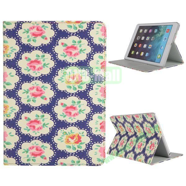 Pretty Pattern Flip Stand Leather Case for iPad Air (Elegance Cloth FlowersDark Blue)