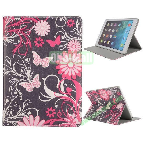 Pretty Pattern Flip Stand Leather Case for iPad Air (Butterfly and Flowerse)