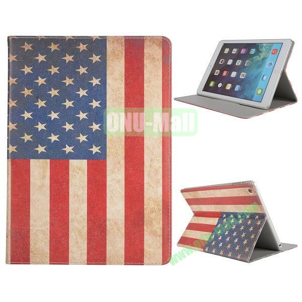 Pretty Pattern Flip Stand Leather Case for iPad Air (USA Flag)