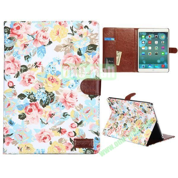 Flower Pattern Leather + PC Case for iPad Air (White)