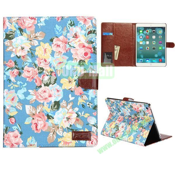 Flower Pattern Leather + PC Case for iPad Air (Blue)