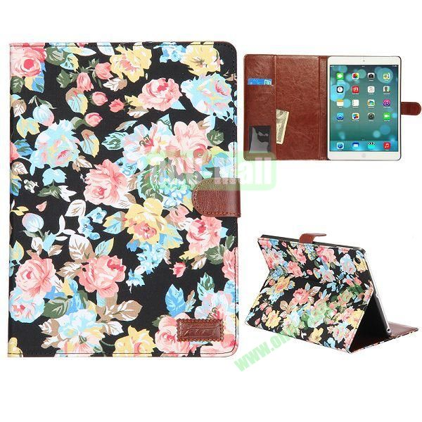 Flower Pattern Leather + PC Case for iPad Air (Black)