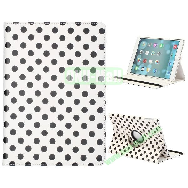 360 Degree Rotatable PC+ Leather Case for iPad Air (Black Dots+White)