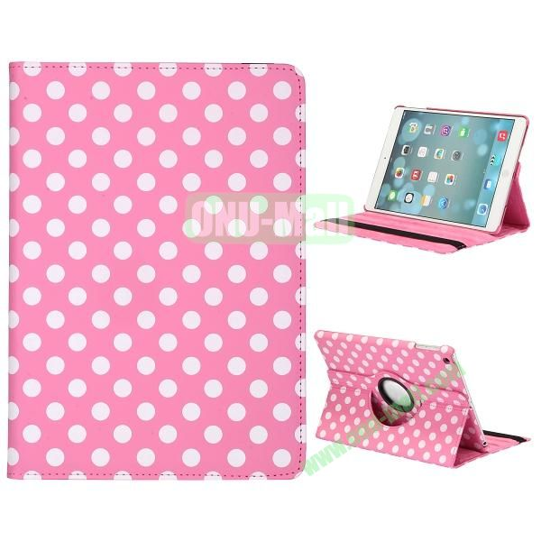 360 Degree Rotatable PC+ Leather Case for iPad Air (Pink Background)