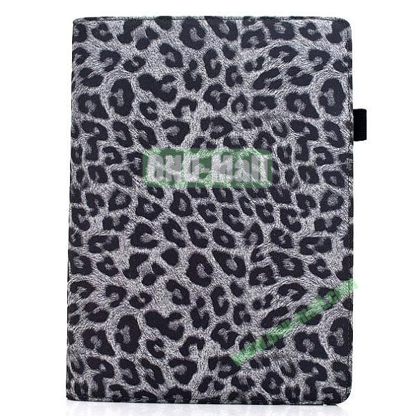 360 Degree Rotatable Leopard Texture Leather Case for iPad Air (Grey)