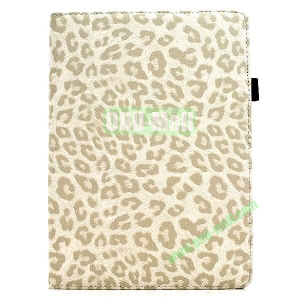 360 Degree Rotatable Leopard Texture Leather Case for iPad Air (White)