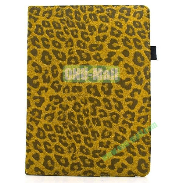 360 Degree Rotatable Leopard Texture Leather Case for iPad Air (Yellow)