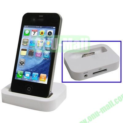 Mini Size Cradle Charger Dock Station for iPhone 4 & 4S with 3.5mm Line Out(White)