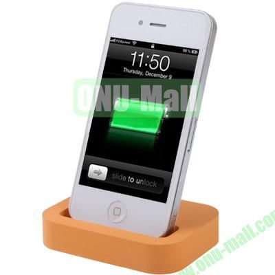 Mini Size Cradle Charger Dock Station for iPhone 4 & 4S with 3.5mm Line Out(Orange)