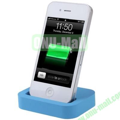 Mini Size Cradle Charger Dock Station for iPhone 4 & 4S with 3.5mm Line Out(Blue)