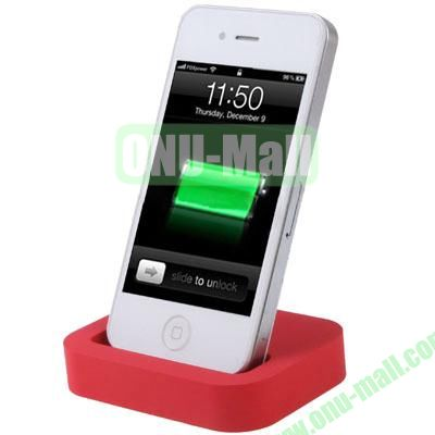 Mini Size Cradle Charger Dock Station for iPhone 4 & 4S with 3.5mm Line Out(Red)