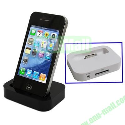 Mini Size Cradle Charger Dock Station for iPhone 4 & 4S with 3.5mm Line Out(Black)