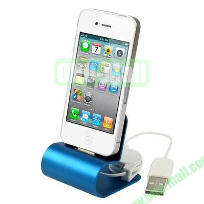 Aluminum Alloy Dock Charger for iPhone 4 & 4SiPhone 3GS & 3G With USB Cable(Blue)