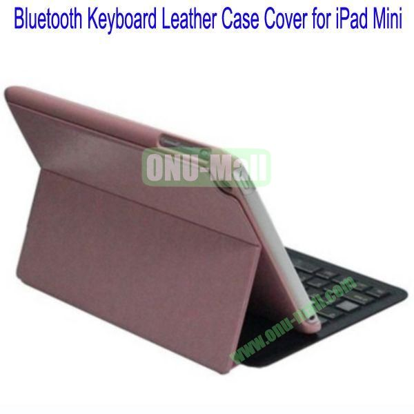 Ultrathin Bluetooth Keyboard Leather Case Cover for iPad Mini(Pink)