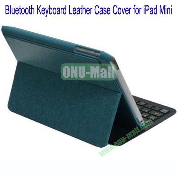 Ultrathin Bluetooth Keyboard Leather Case Cover for iPad Mini(Green)