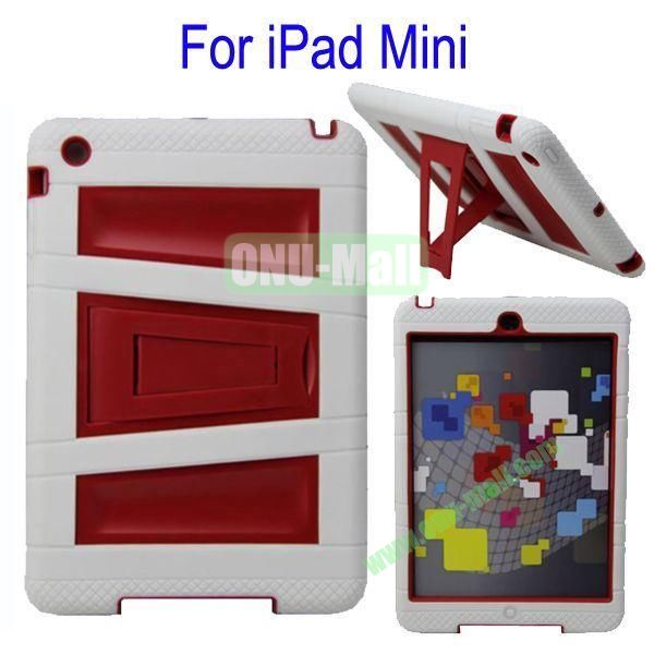 Fashionable 2 in One Silicon Plastic Case Cover for iPad Mini with Stand(White+Red)