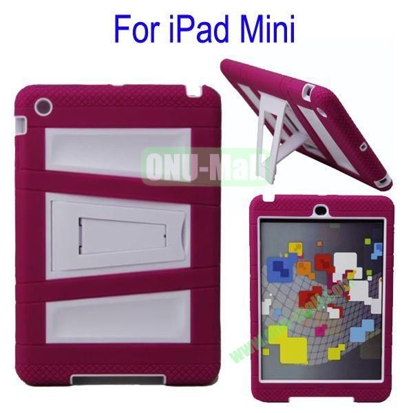Fashionable 2 in One Silicon Plastic Case Cover for iPad Mini with Stand(Rose+White)