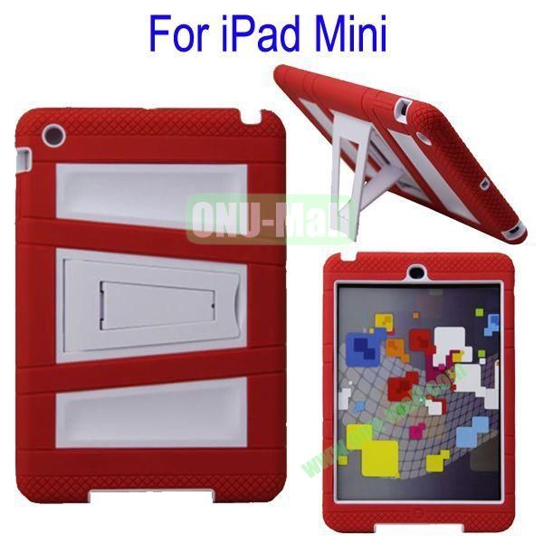 Fashionable 2 in One Silicon Plastic Case Cover for iPad Mini with Stand(Red+White)