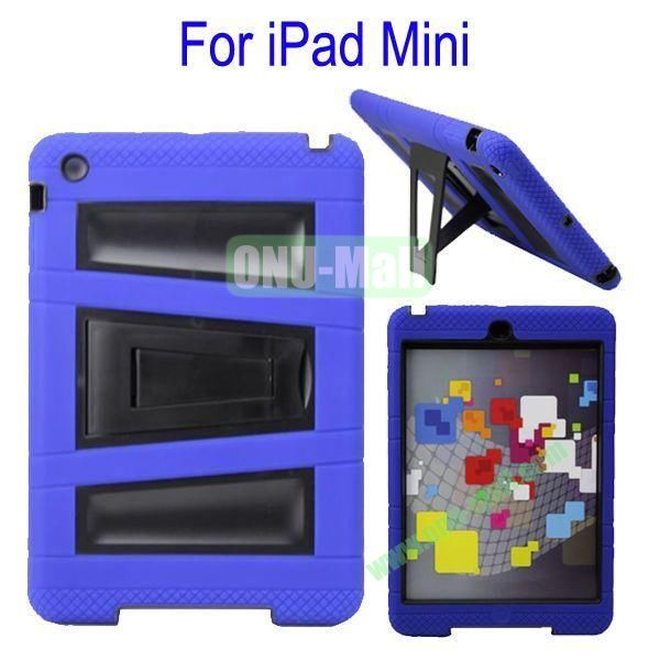 Fashionable 2 in One Silicon Plastic Case Cover for iPad Mini with Stand(Blue+Black)
