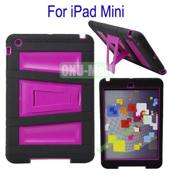 Fashionable 2 in One Silicon Plastic Case Cover for iPad Mini with Stand(Black+Purple)