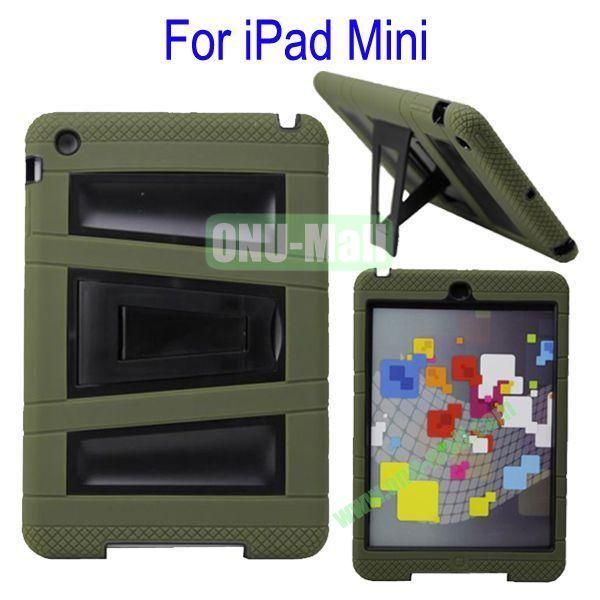 Fashionable 2 in One Silicon Plastic Case Cover for iPad Mini with Stand(Ink Green+Black)