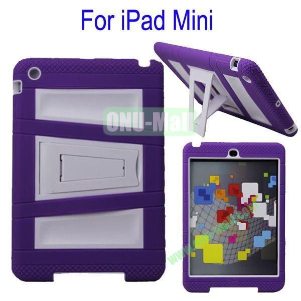 Fashionable 2 in One Silicon Plastic Case Cover for iPad Mini with Stand(Purple+White)