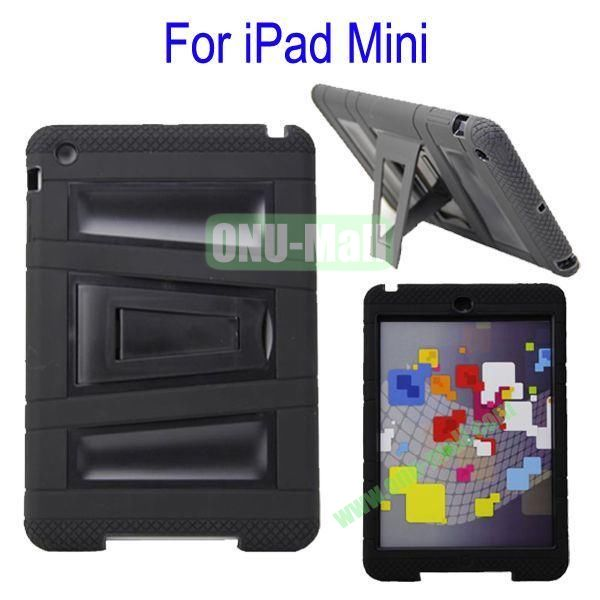Fashionable 2 in One Silicon Plastic Case Cover for iPad Mini with Stand(Black)