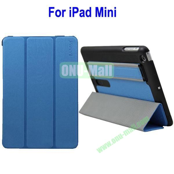 Three Folio Leather Stand Case Cover for iPad Mini with Armband Belt(Blue)
