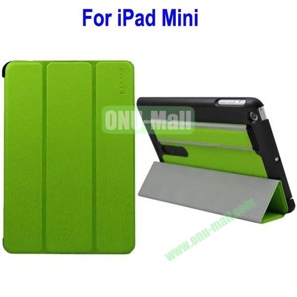 Three Folio Leather Stand Case Cover for iPad Mini with Armband Belt(Green)