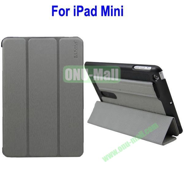 Three Folio Leather Stand Case Cover for iPad Mini with Armband Belt(Grey)