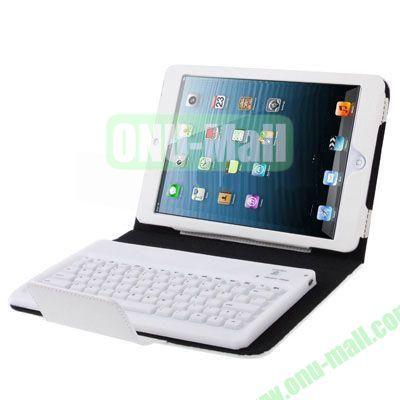 2 in 1 Bluetooth 3.0 Keyboard Leather Case for iPad MiniiPad Mini 2 Retina with Holder (White)